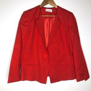Calvin Klein Red One Button Zipper Trim Blazer